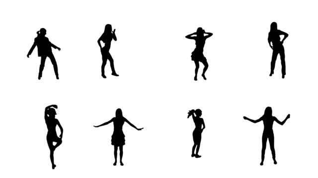 Women dancing. 8 in 1. Alpha matte. 8 women dancing, with alpha matte. Full HD. Created exclusively for iStock. silhouette stock videos & royalty-free footage