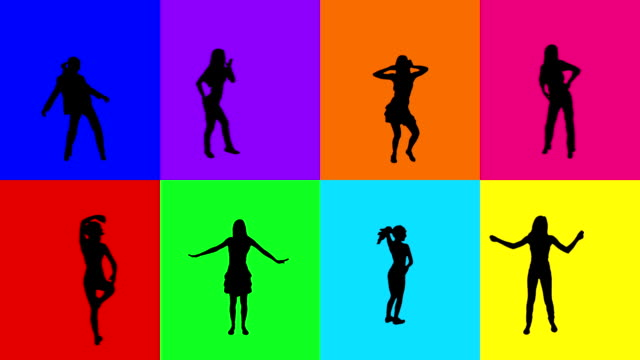 Women dancing. 8 in 1. Colored video