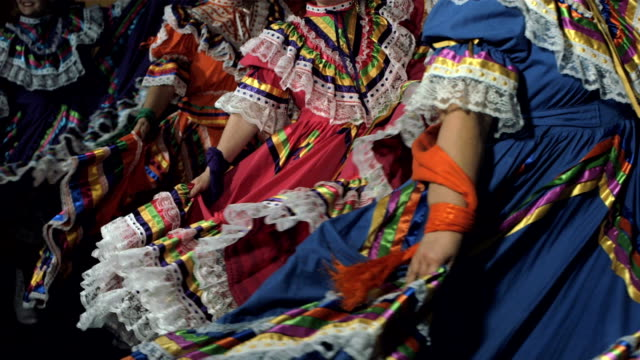 Women dancing close up Slow motion shot of women in traditional Mexican dress dancing on black background carnival celebration event stock videos & royalty-free footage