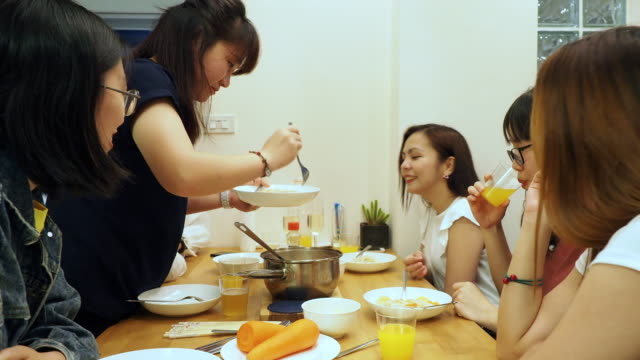 Women dinner party at home