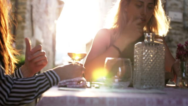Women drinking a glass of wine in restaurant video