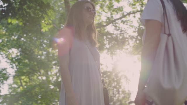 women enjoy nature in a sunny park - аксессуар для волос стоковые видео и кадры b-roll