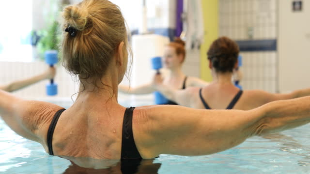Women exercising with dumbbells in swimming pool video