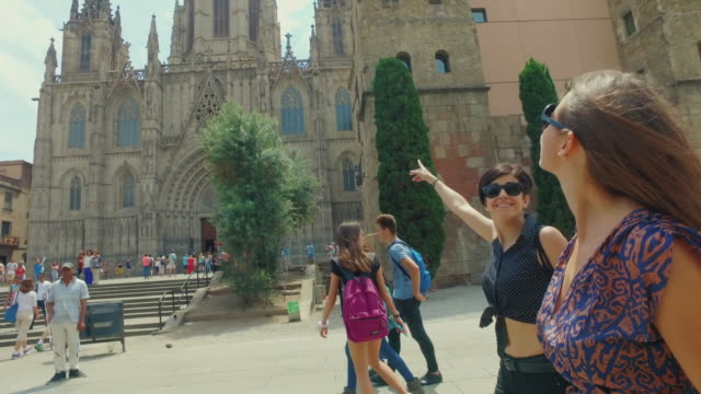 women friends in barcelona at summer - gothic architecture stock videos & royalty-free footage