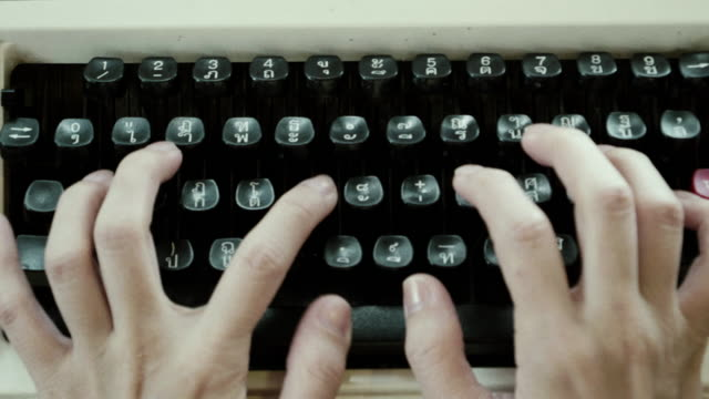 CU : Women Hands Typing On An Old Typewriter video
