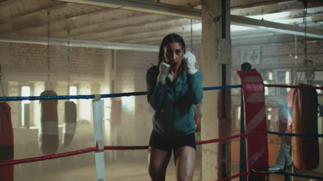 Women in boxing ring video