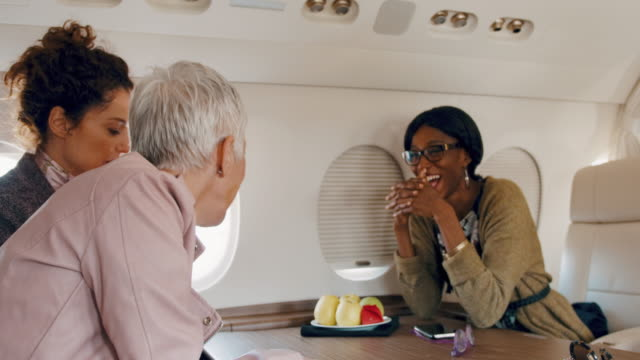 Women in private jet airplane Multiethnic group of females sitting inside private jet airplane and talking during the flight. private airplane stock videos & royalty-free footage