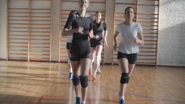 Women in sport - Volleyball Young women playing volleyball. They are team and have training. volleyball ball stock videos & royalty-free footage