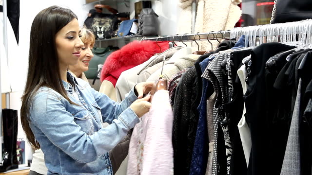 Women in the clothing store video