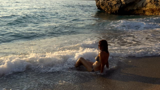 women is  having fun in the sea. - fethiye video stock e b–roll