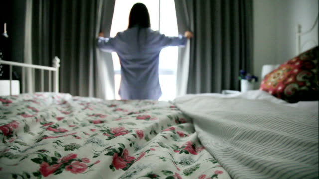 women open the curtain video