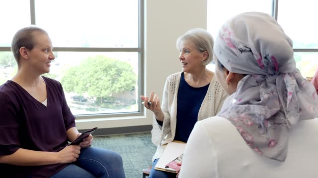 Women participate in breast cancer support group video