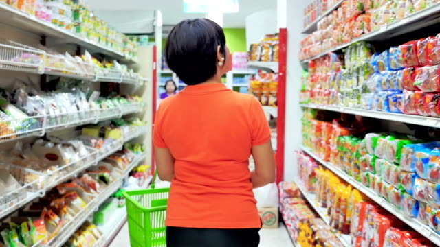 Women shopping in supermarket,Slow motion video