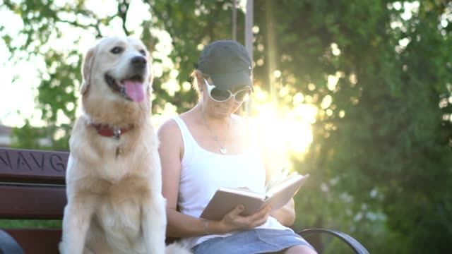 women sitting with her dog on the park bench and reading book - fedeltà video stock e b–roll