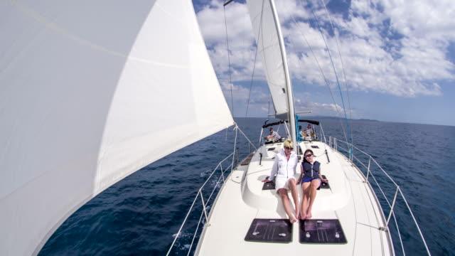 WS Women Sunbathing On The Sailboat video