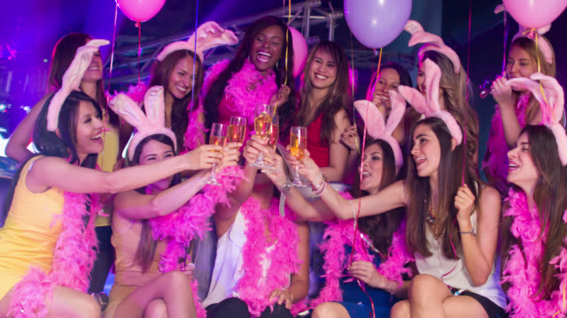 women toasting at a bachelorette party - bachelorette party stock videos and b-roll footage