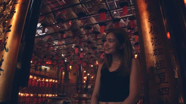 Women tourists come to visit to Man Mo Temple, Hong Kong