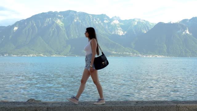 Women walking by the Lake Geneva video