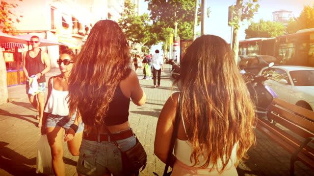 Women walking in the ramblas of Barcelona video