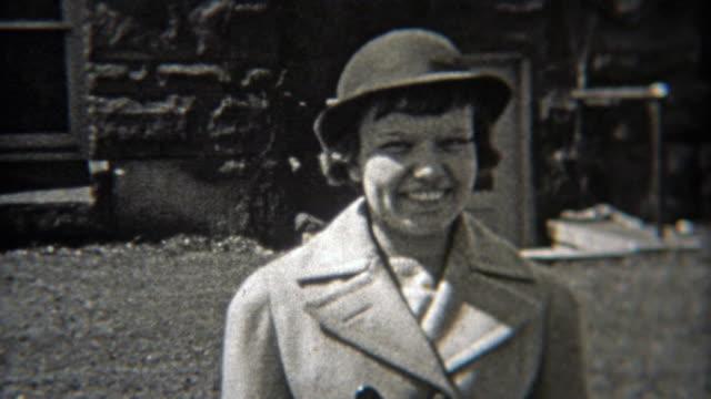 1937: Women wearing fashion hats like bollers. video