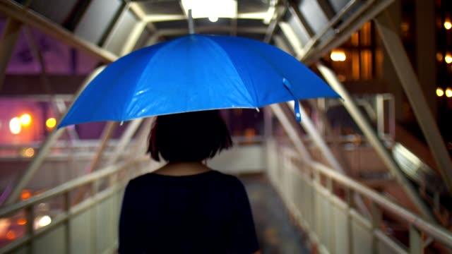 Women with umbrella walking on footbridge
