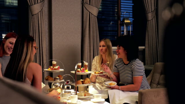 women's afternoon tea - bachelorette party stock videos and b-roll footage