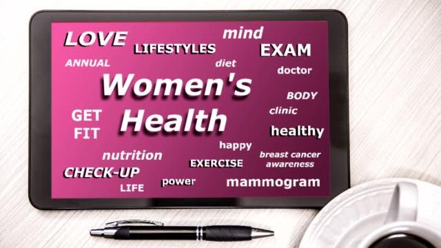 婦女的健康詞雲數位平板電腦螢幕上。 - breast cancer awareness 個影片檔及 b 捲影像