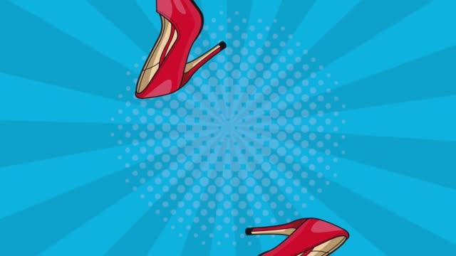 Womens high heels raining HD animation