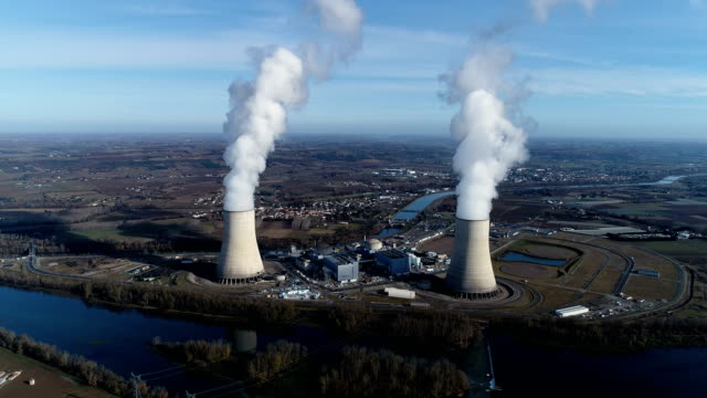 wonderful aerial view of nuclear power station - reattore nucleare video stock e b–roll