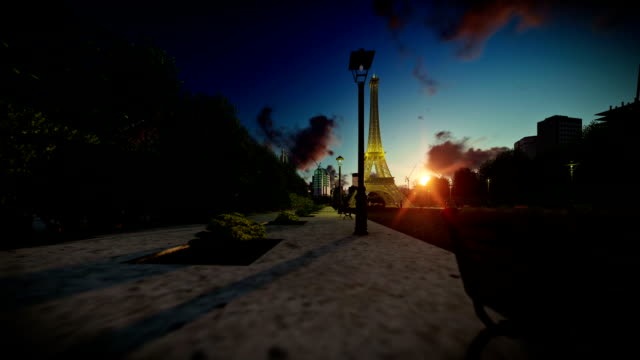 Wonderful view Eiffel Tower in Paris at sunset, dolly camera video