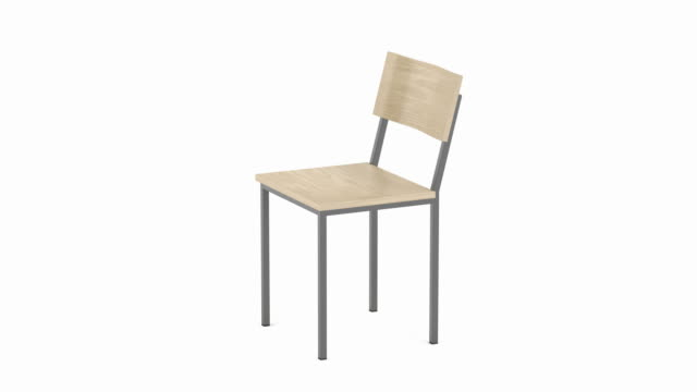 Wood chair on white background Modern chair made from wood and metal on white background chair stock videos & royalty-free footage
