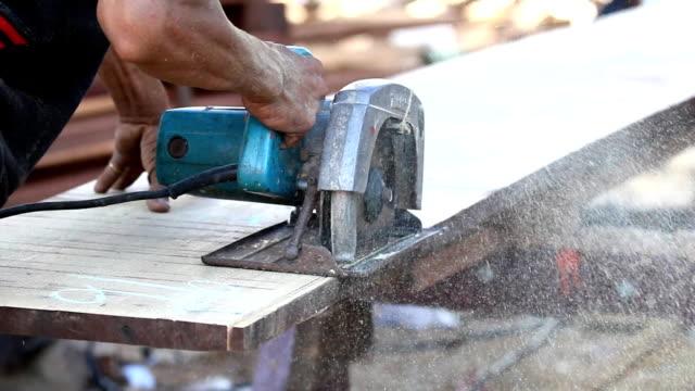 Wood cutting by circular saw video