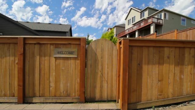 Wood Fencing with Garden Entrance Gate HD Movie video