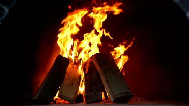 Wood fire in the dark video