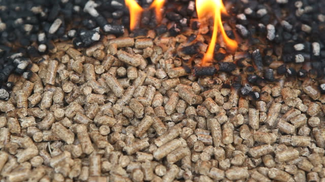 Wood Pellets Burn as an Alternative Heat Source Wood pellets are burning as an alternative heat source. Made from industrial wood waste, ground into sawdust and compressed, pellets are used in pellet burning appliances including furnaces, stoves and heaters. biomass renewable energy source stock videos & royalty-free footage