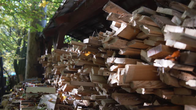 Wood pile under the roof in a gazebo. Log trunks pile, the logging timber wood industry. Wood pile under the roof in a gazebo. Log trunks pile, the logging timber wood industry. biomass renewable energy source stock videos & royalty-free footage