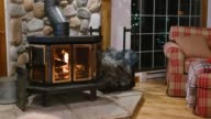 istock Wood stove fireplace with metal body and glass door in house with cozy interior 1218444963