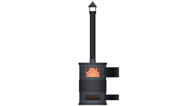 Wood stove. The animation of the heating. Cartoon