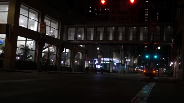 Wood Street in Pittsburgh Pennsylvania as seen at late at night or early morning video