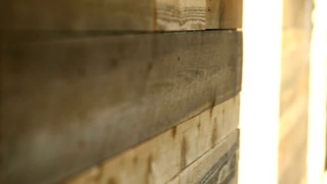 Wood Wall Close Up Racking Focus Detail video