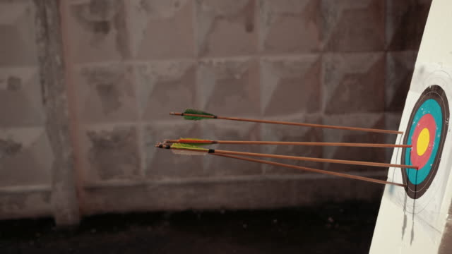 wooden arrows with colored end fly into white foam on which target hangs