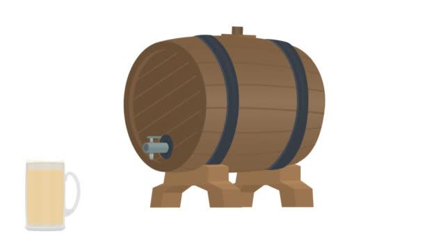 Wooden barrel. Animation of a beer keg. Cartoon