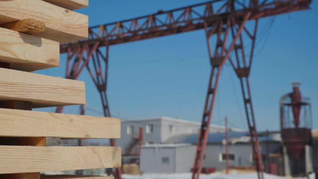 Wooden blanks for the production of glued timber stand in the street video