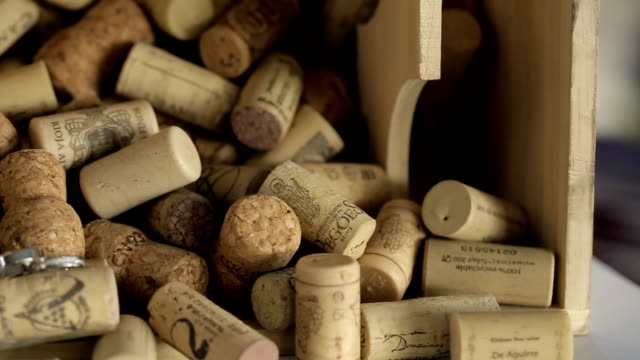 A wooden box contains a collection of plugs from bottles of wine video