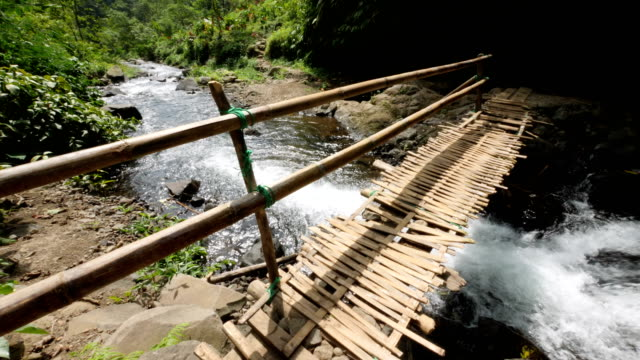Wooden bridge over small river in a tropical forest in central Bali