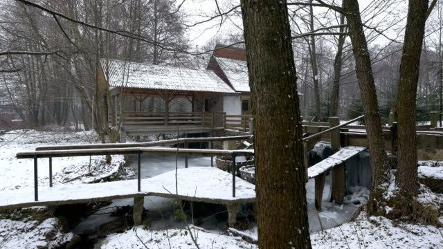 Wooden building during winter