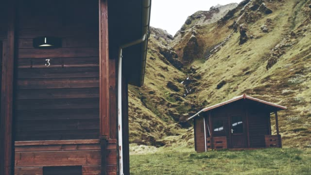 Wooden cabins surrounded by mountains