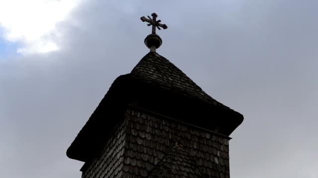 Wooden Church Cross Steeple Timelapse video
