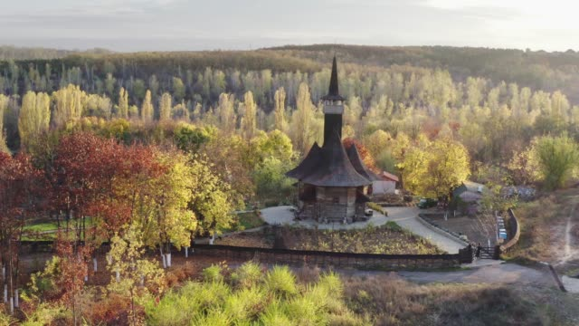 wooden church of the assumption of the blessed virgin mary - ferragosto video stock e b–roll