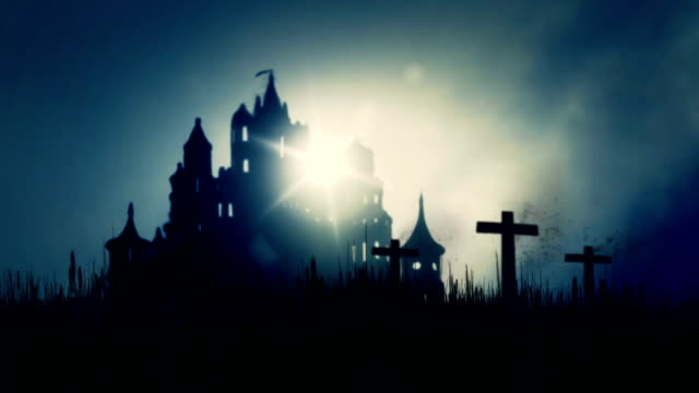 3 Wooden Crosses Burning on a Scary Castle Background video